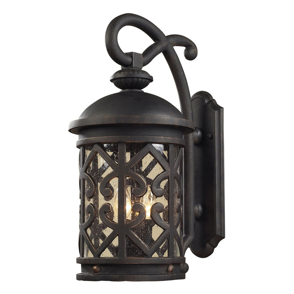Tuscany Coast 2-Light Outdoor Sconce in Weathered Charcoal