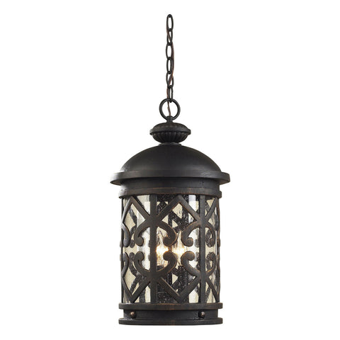 Tuscany Coast 3-Light Outdoor Pendant in Weathered Charcoal