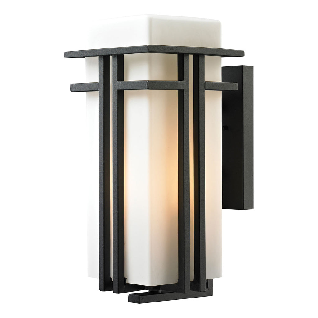Croftwell Textured Matte Black Outdoor Sconce