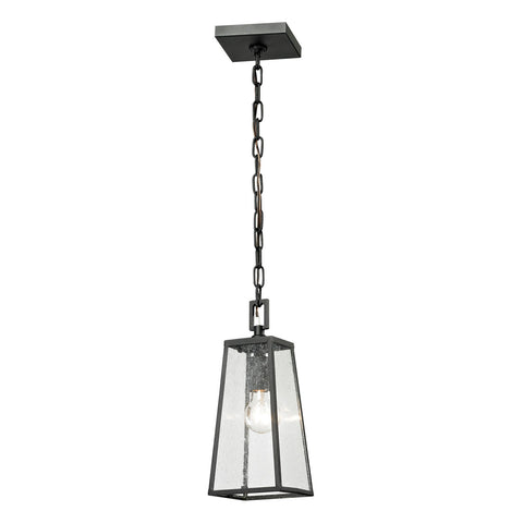 Meditterano 1-Light Outdoor Pendant in Textured Matte Black