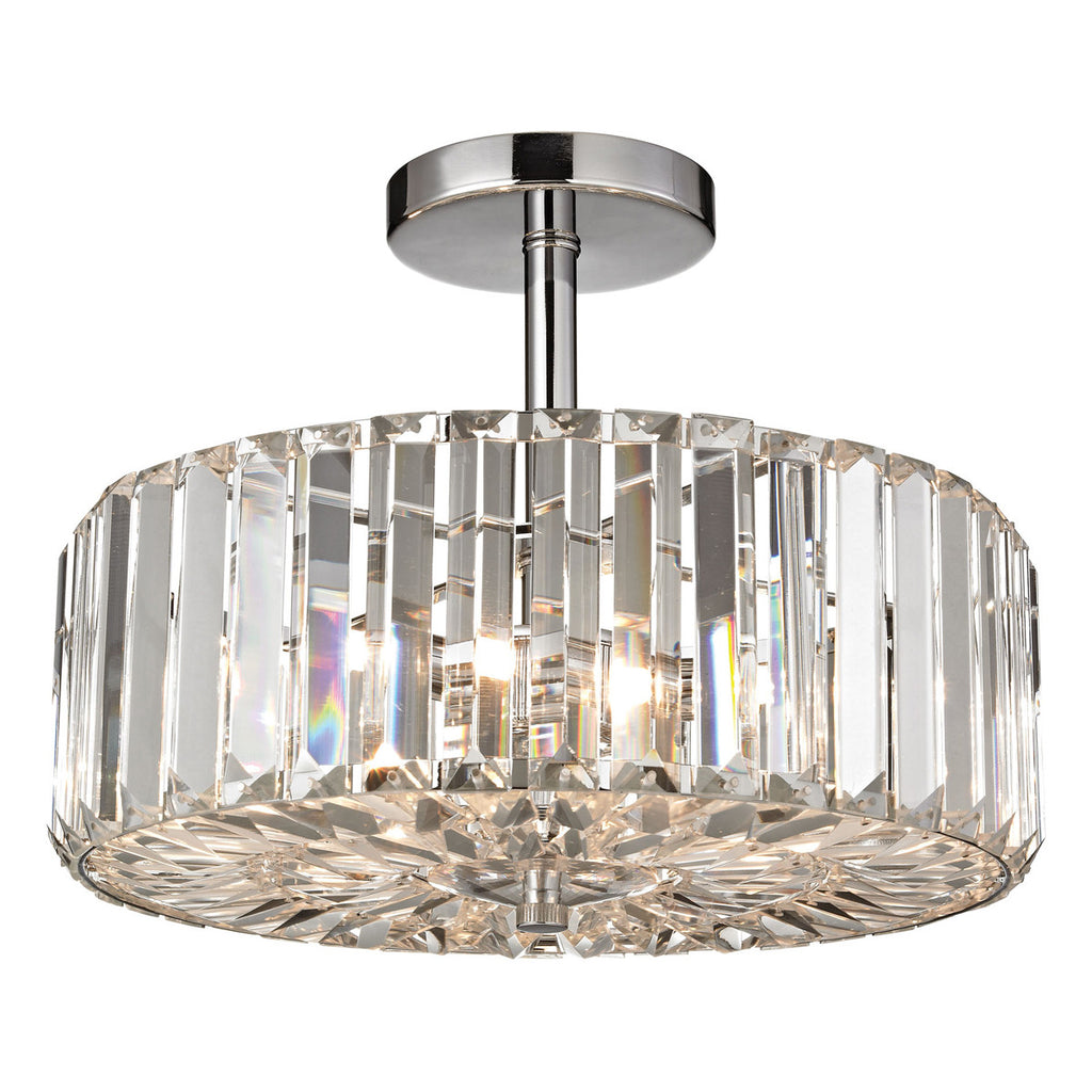 Clearview 3-Light Semi Flush in Polished Chrome
