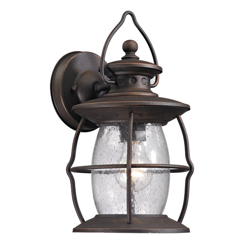 Village Lantern 1-Light Outdoor Wall Sconce in Weathered Charcoal
