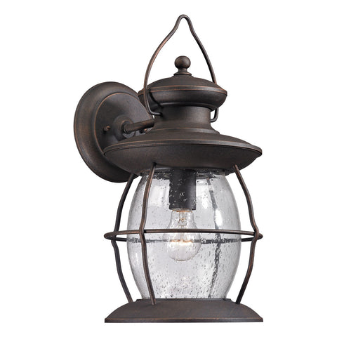 Village Lantern 1-Light Outdoor Sconce in Weathered Charcoal