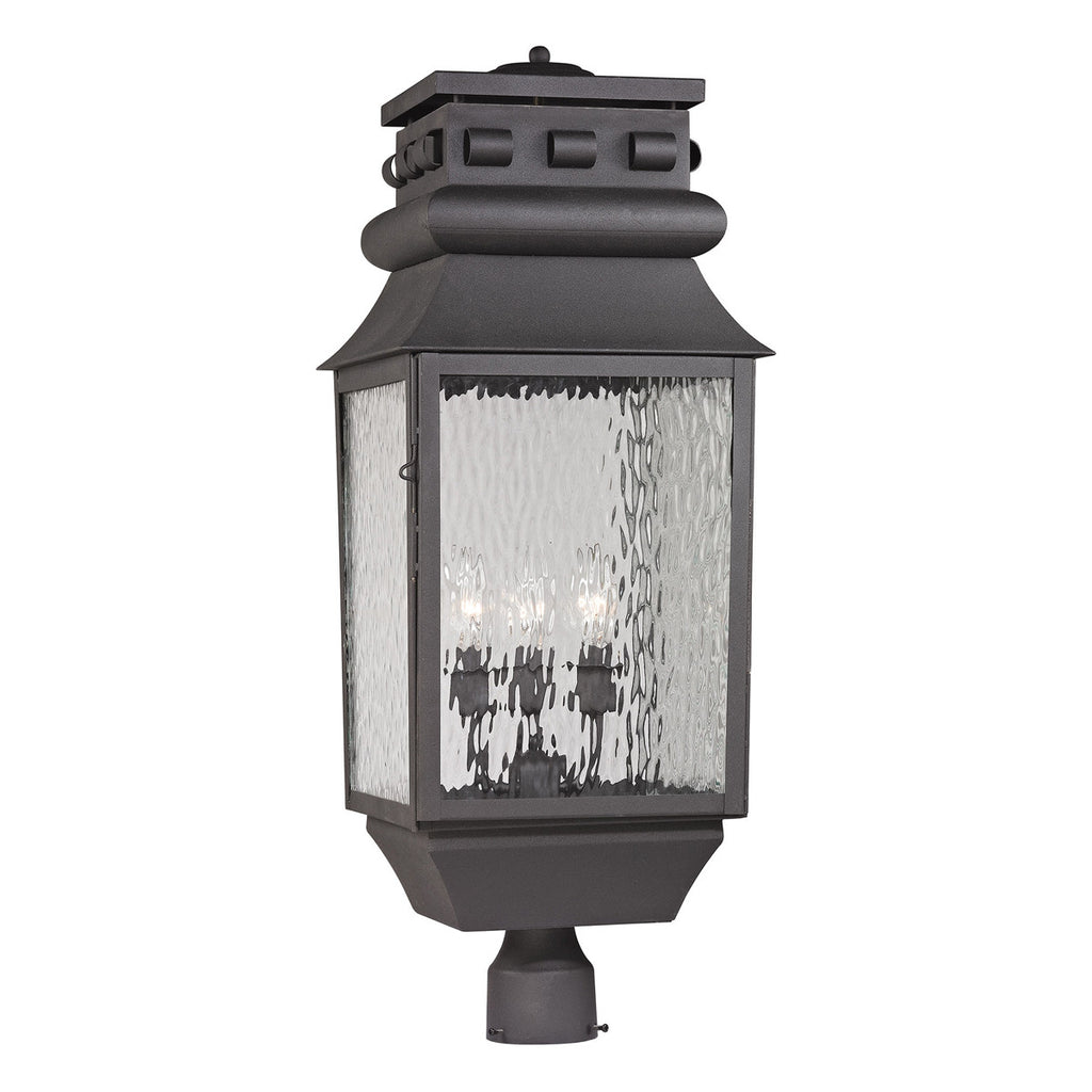 Forged Lancaster 3-Light Outdoor Post-Light in Charcoal