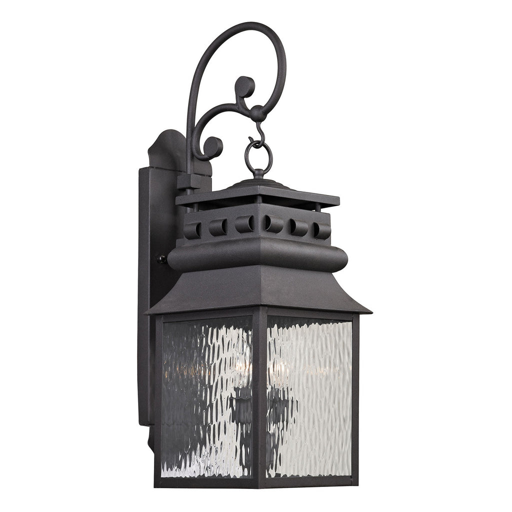 Forged Lancaster 2-Light Outdoor Wall Sconce in Charcoal