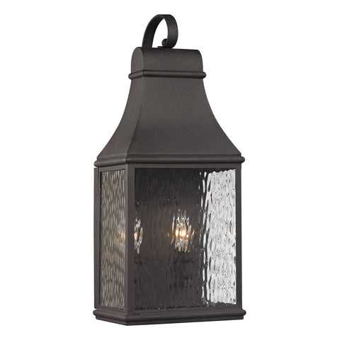 Forged Jefferson 2-Light Outdoor Wall Sconce in Charcoal