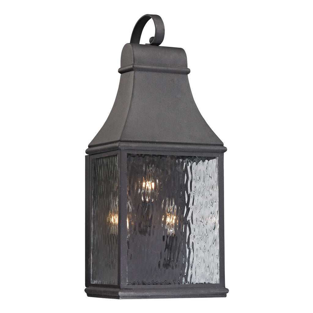 Forged Jefferson 3-Light Outdoor Wall Sconce in Charcoal