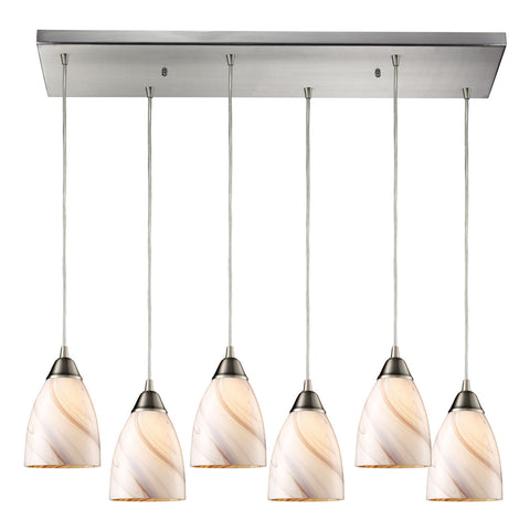 Pierra 6-Light Satin Nickel Pendant