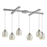 Fusion 6-Light Satin Nickel Pendant