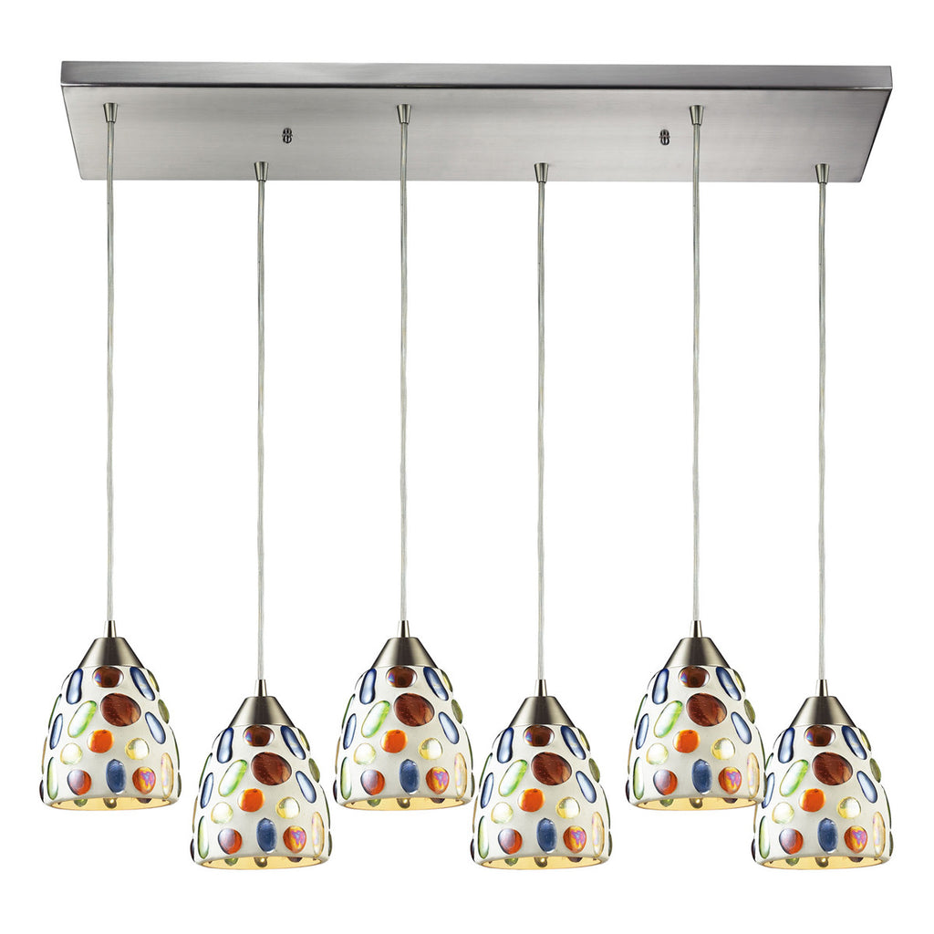 Gemstones 6-Light Pendant in Satin Nickel Hardware