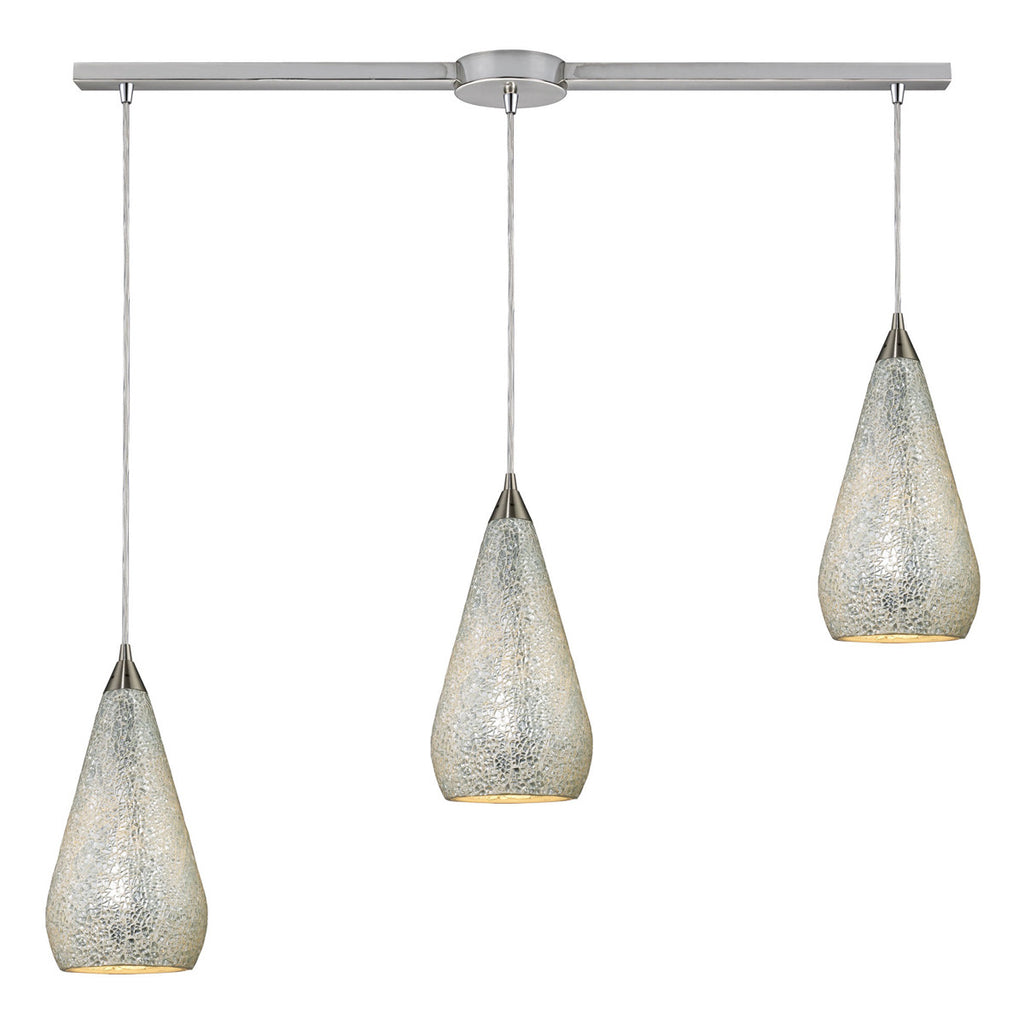 Curvalo Linear 3-Light Satin Nickel Pendant