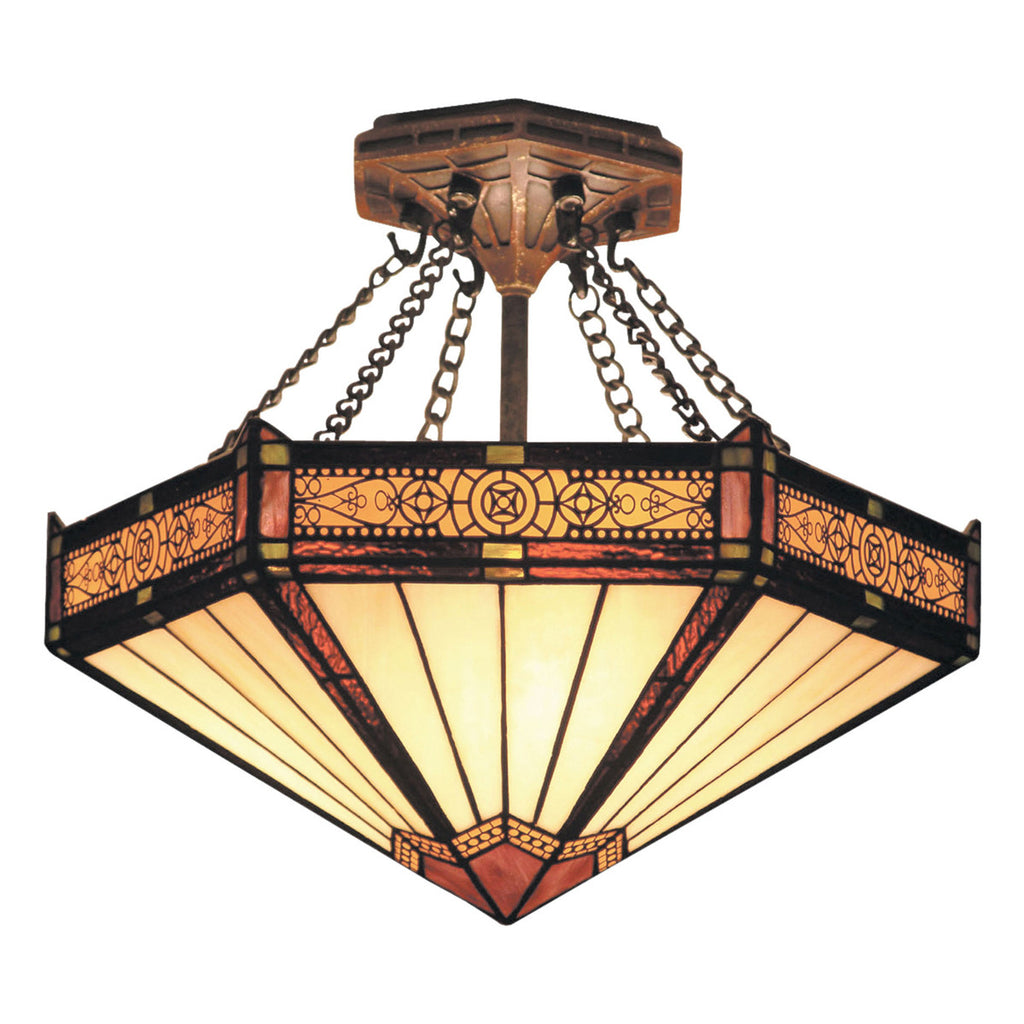 Filigree 3-Light Semi-Flush in Aged Bronze