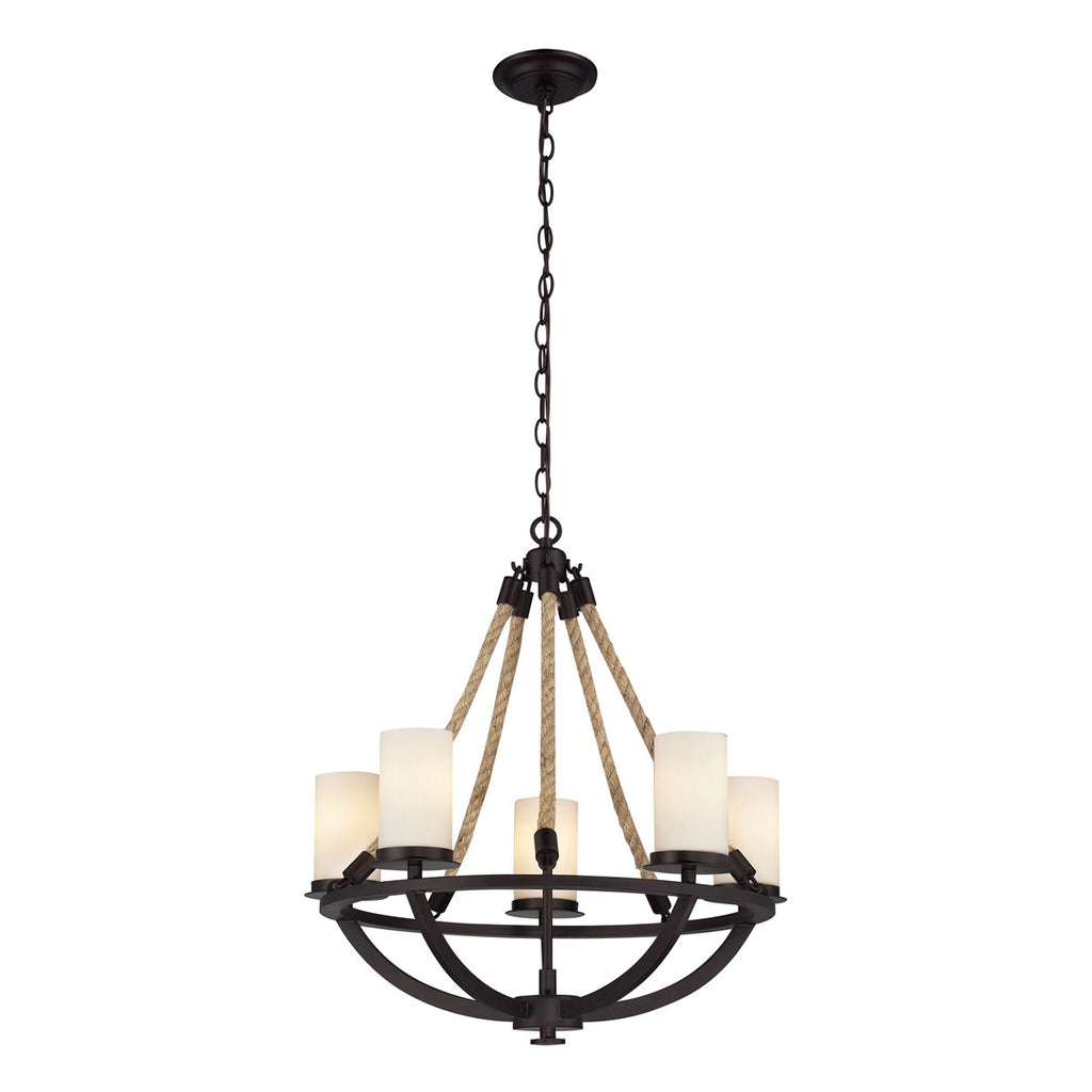 Natural Rope 5-Light Chandelier in Aged Bronze