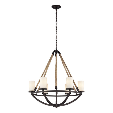Natural Rope 6-Light Chandelier in Aged Bronze