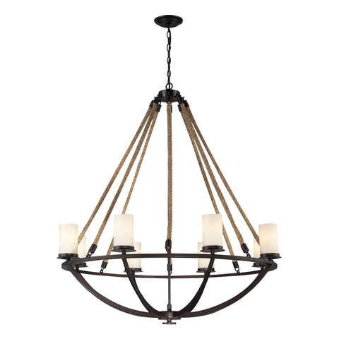 Natural Rope 8-Light Chandelier in Aged Bronze