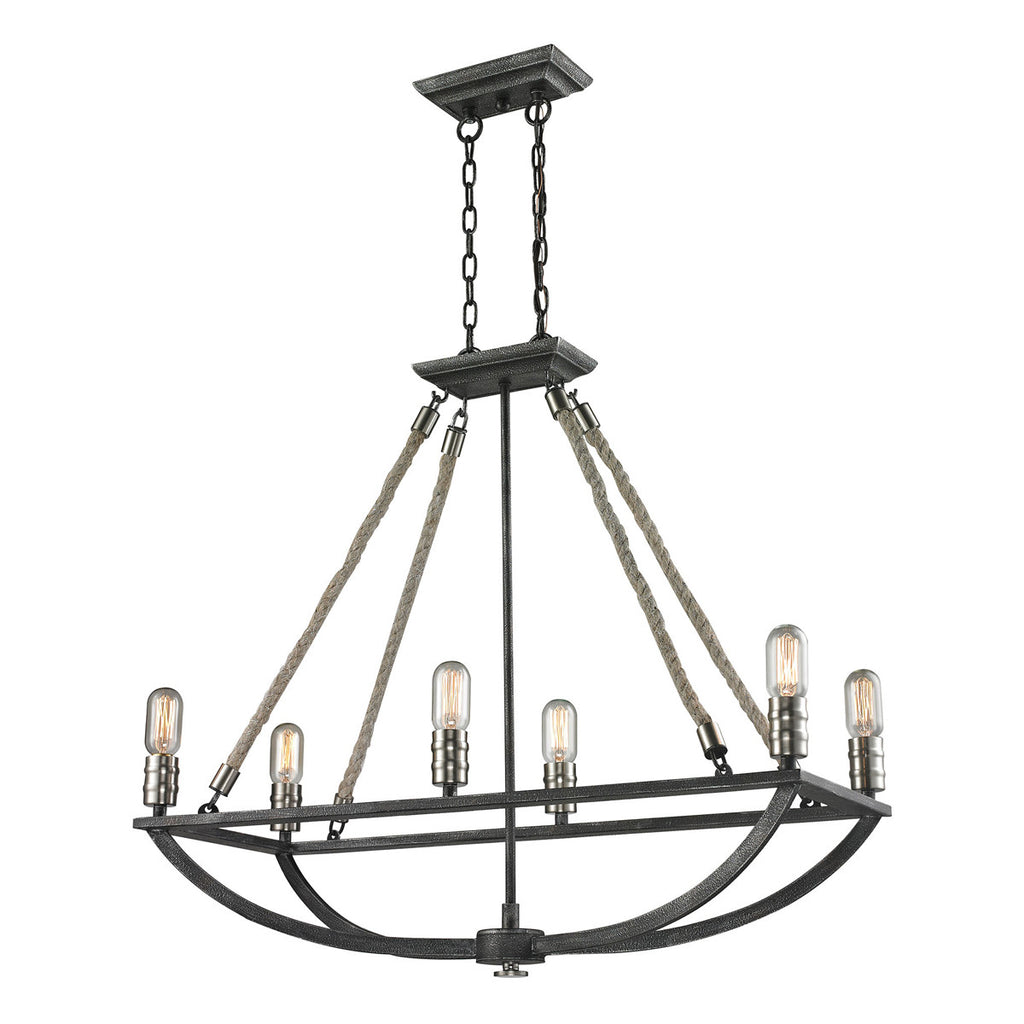 Natural Rope 6-Light Chandelier in Silvered Graphite and Polished Nickel Accents