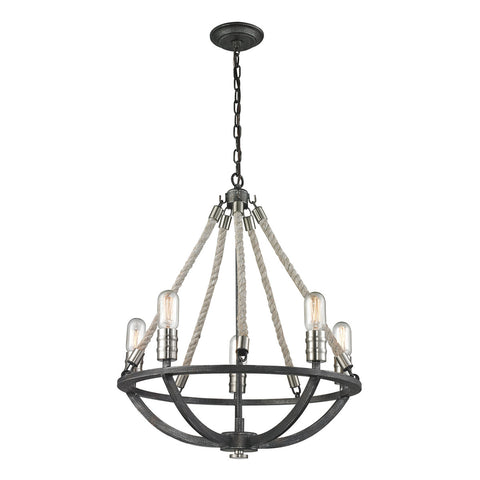 Natural Rope 5-Light Chandelier in Silvered Graphite and Polished Nickel Accents