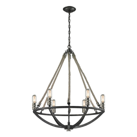 Natural Rope 6-Light Chandelier with Silvered Graphite and Polished Nickel Accents