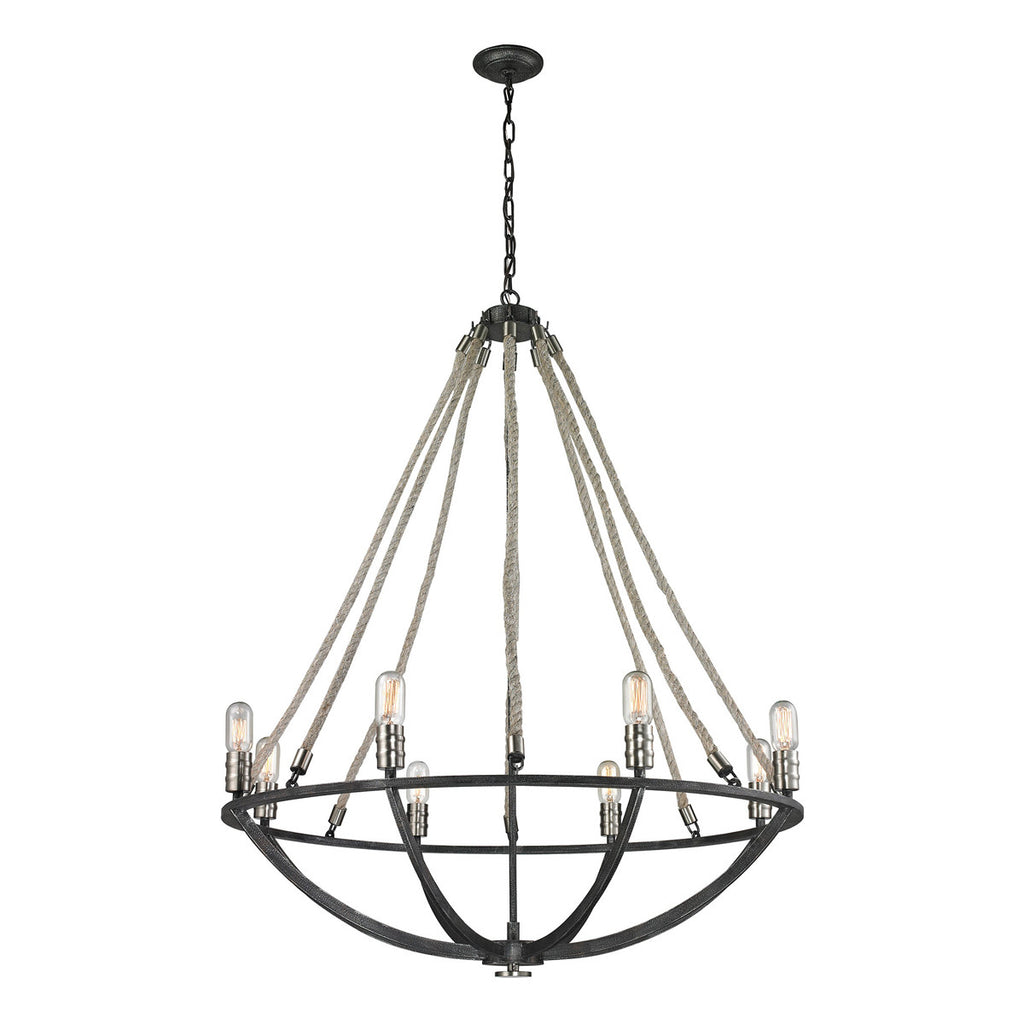 Natural Rope 8-Light Chandelier in Silvered Graphite and Polished Nickel Accents