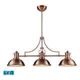 Chadwick 3-Light Antique Copper Billiard/Island Light