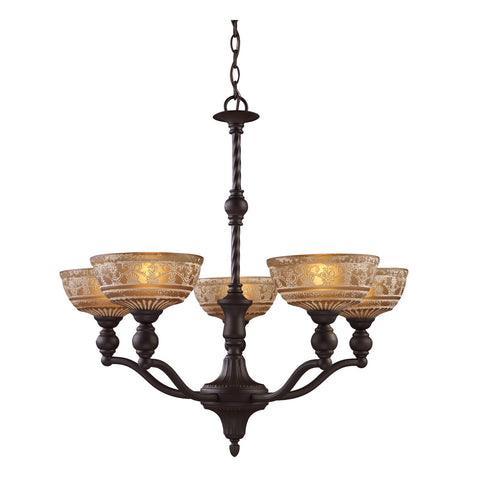 Norwich 5-Light Chandelier in Oiled Bronze