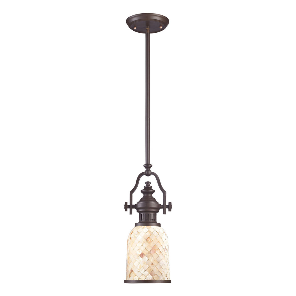 Chadwick 1-Light Pendant in Oiled Bronze and Cappa Shell