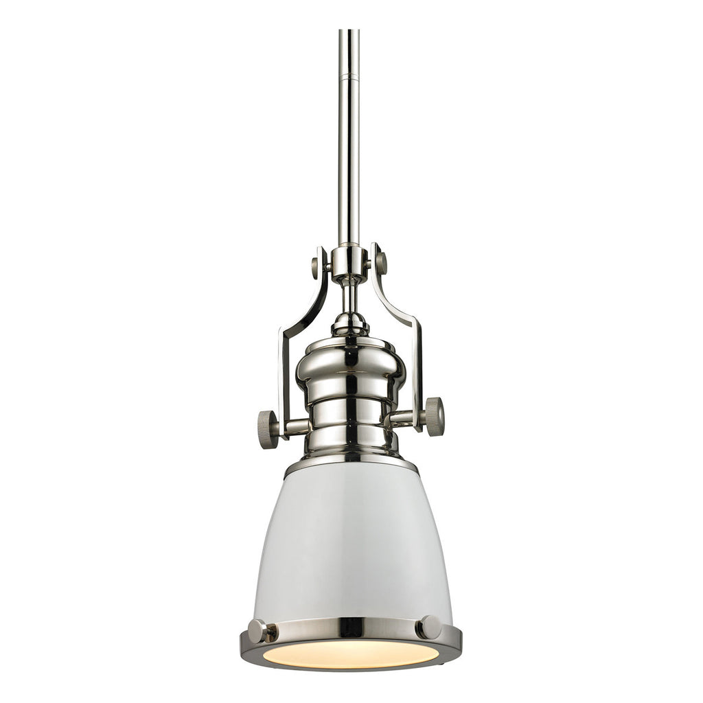 Chadwick 1-Light Pendant in Gloss White and Polished Nickel