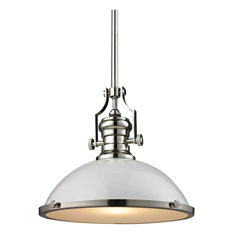1-Light Chadwick Pendant in Gloss White and Polished Nickel
