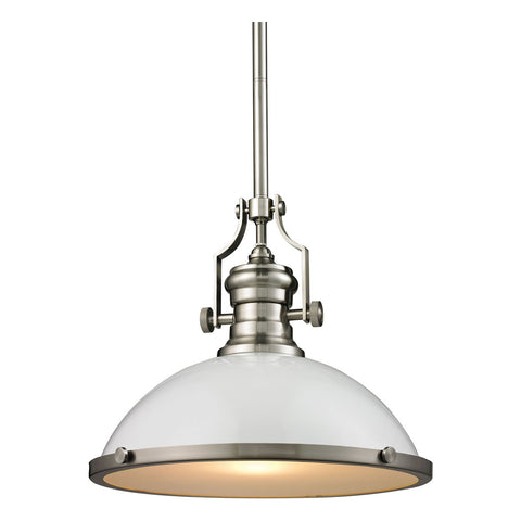 1-Light Chadwick Pendant in Gloss White and Satin Nickel