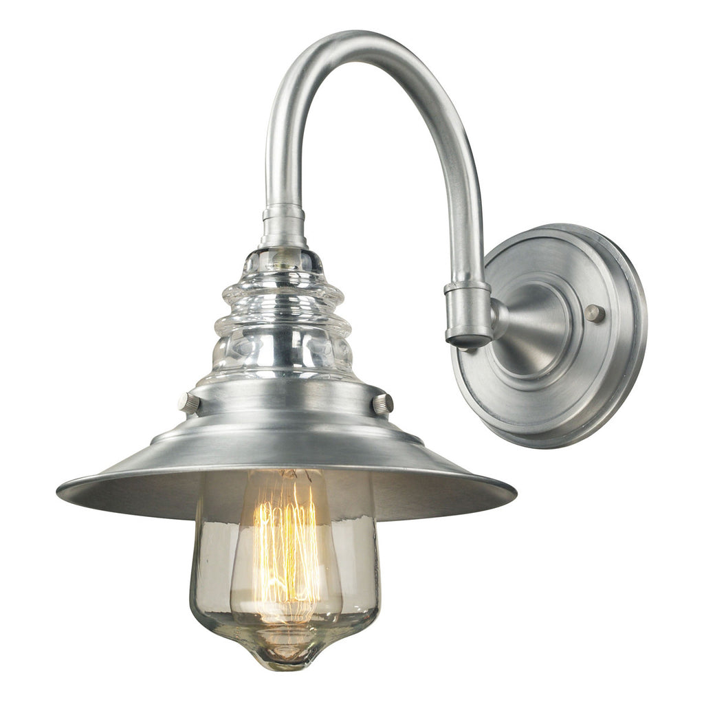 Insulator Glass 1-Light Wall Sconce in Brushed Aluminum
