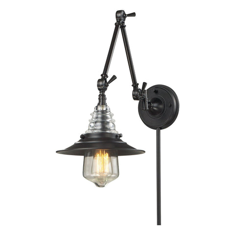 Insulator Glass 1-Light Swingarm Sconce