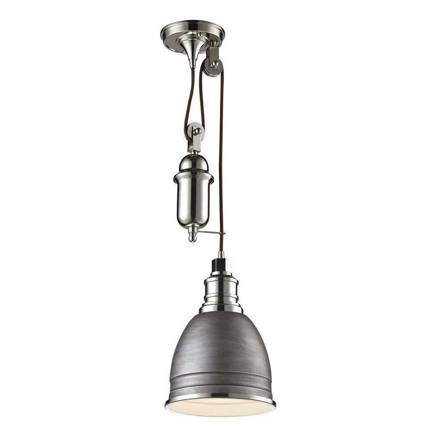 Carolton 1-Light Pendant with Weathered Zinc and Polished Nickel