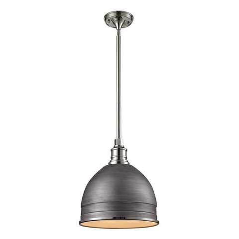 1-Light Carolton Pendant in Weathered Zinc and Polished Nickel