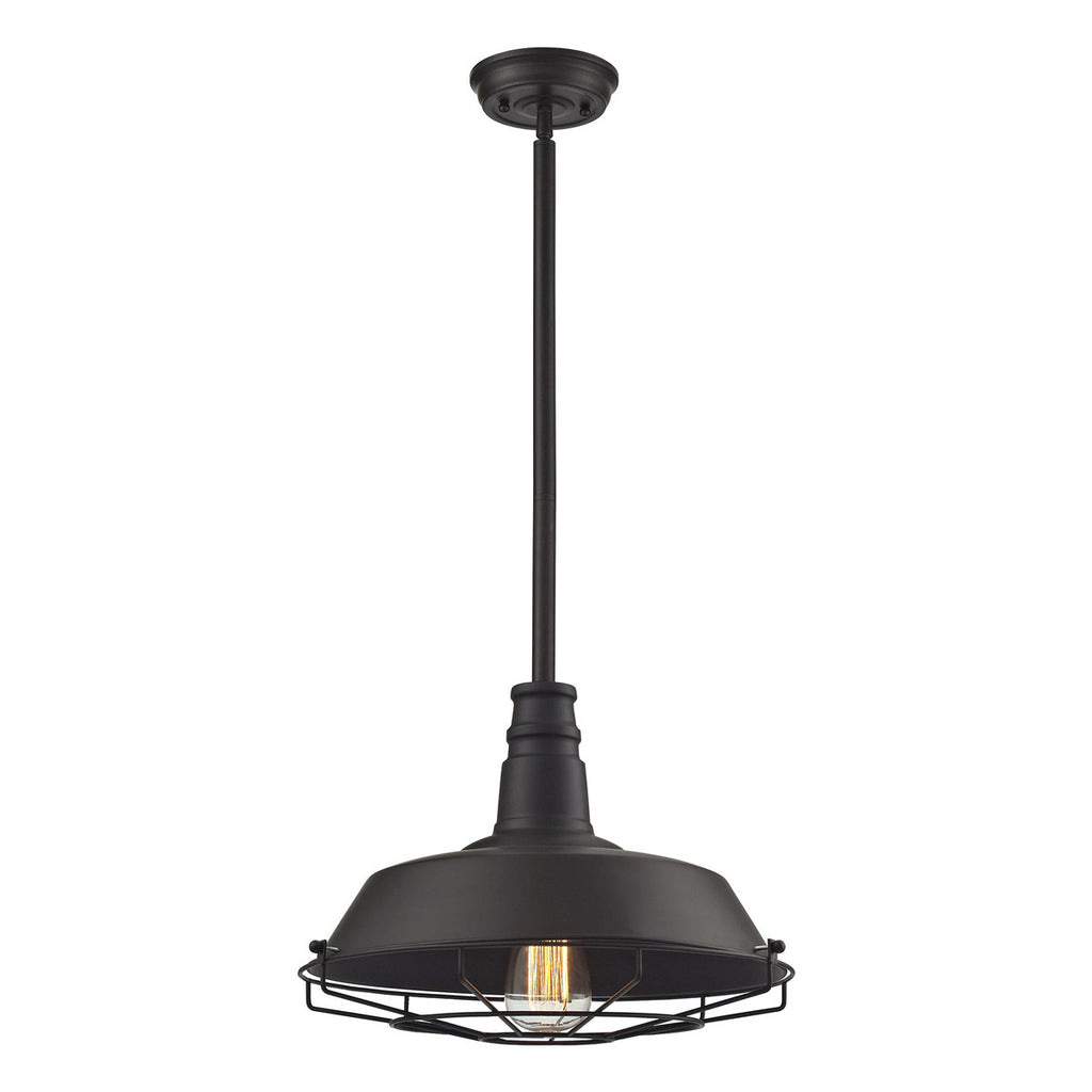 Warehouse Pendant 1-Light Pendant in Oil Rubbed Bronze