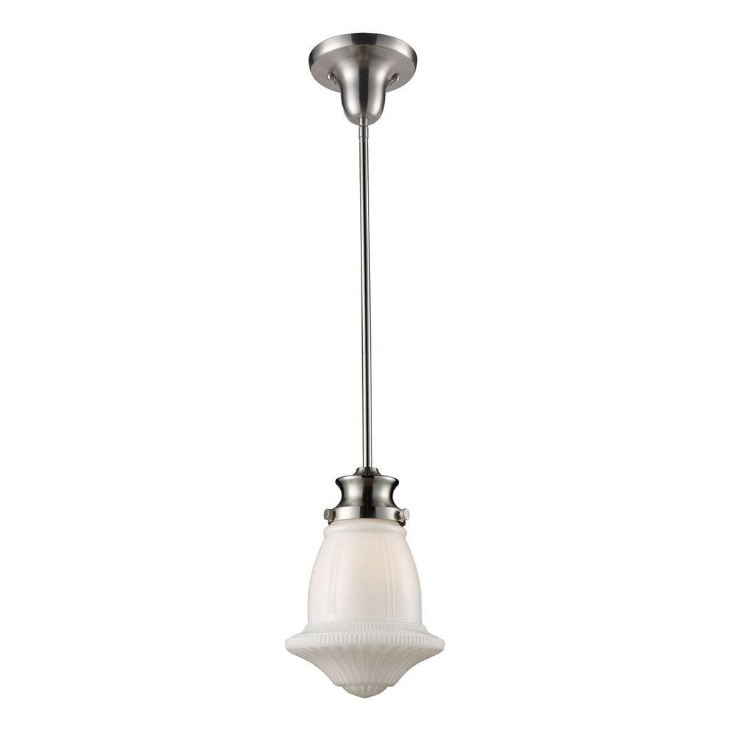 Schoolhouse 1-Light Pendant in Satin Nickel