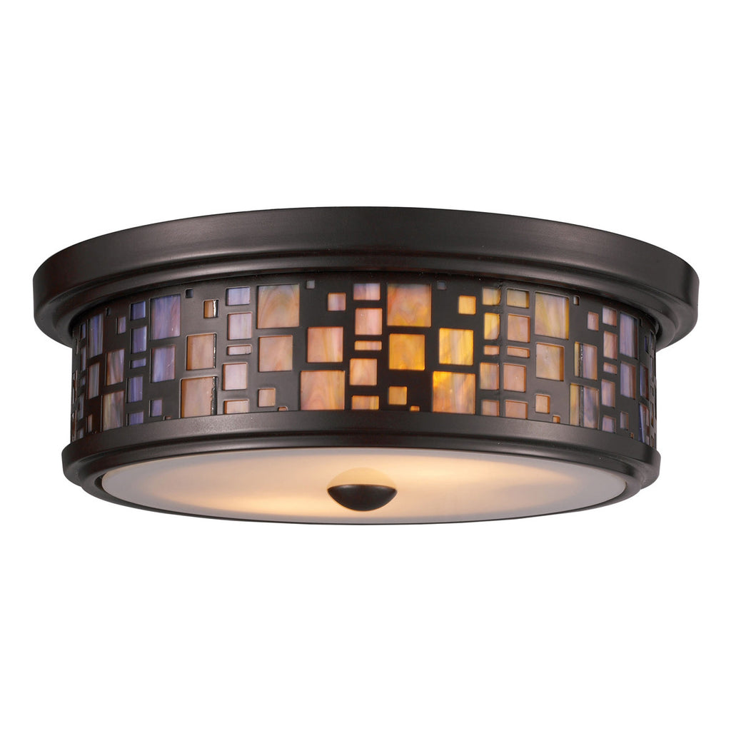 Tiffany 2-Light Oiled Bronze Flush Mount