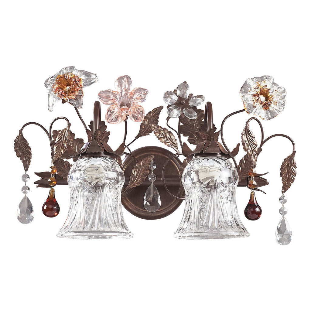Cristallo Fiore 2-Light Vanity in Deep Rust and Hand Blown Florets