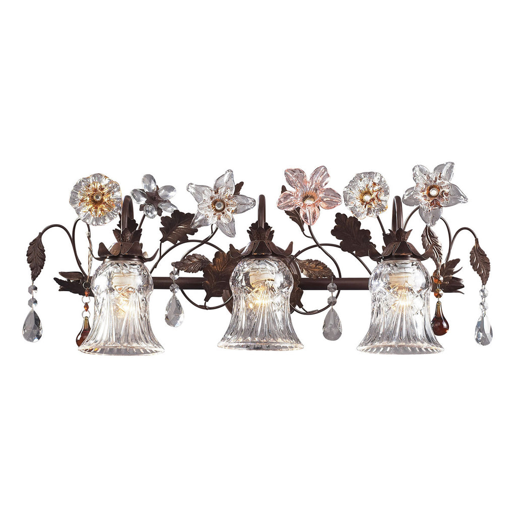 Cristallo Fiore 3-Light Vanity in Deep Rust and Hand Blown Florets