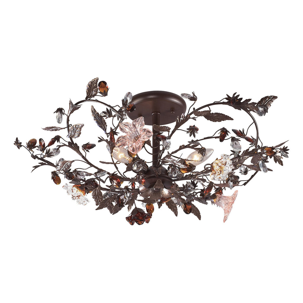 Cristallo Fiore 3-Light Semi Flush in Deep Rust