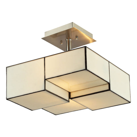 Cubist Collection 2-light semi flush in Brushed Nickel