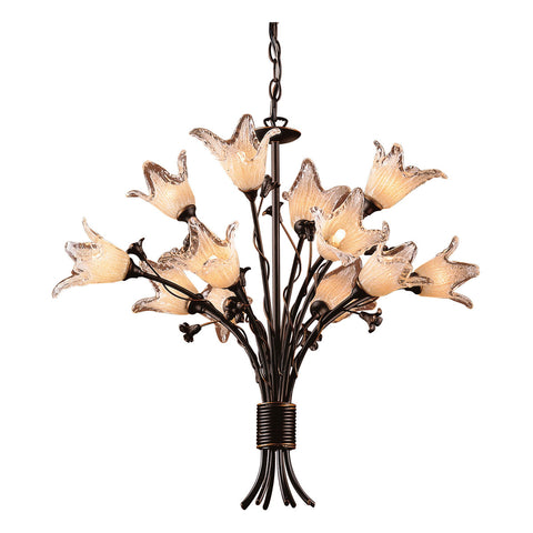 Fioritura 12-Light Chandelier in Aged Bronze