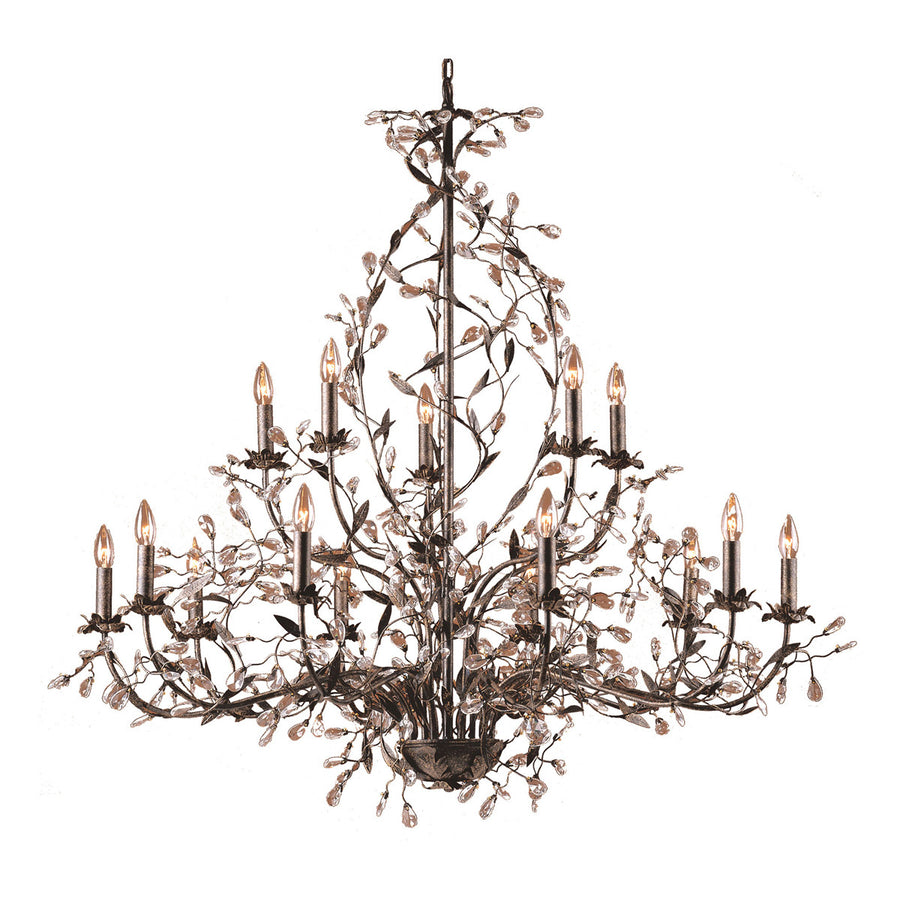 Circeo 15-Light Chandelier in Deep Rust and Crystal Droplets