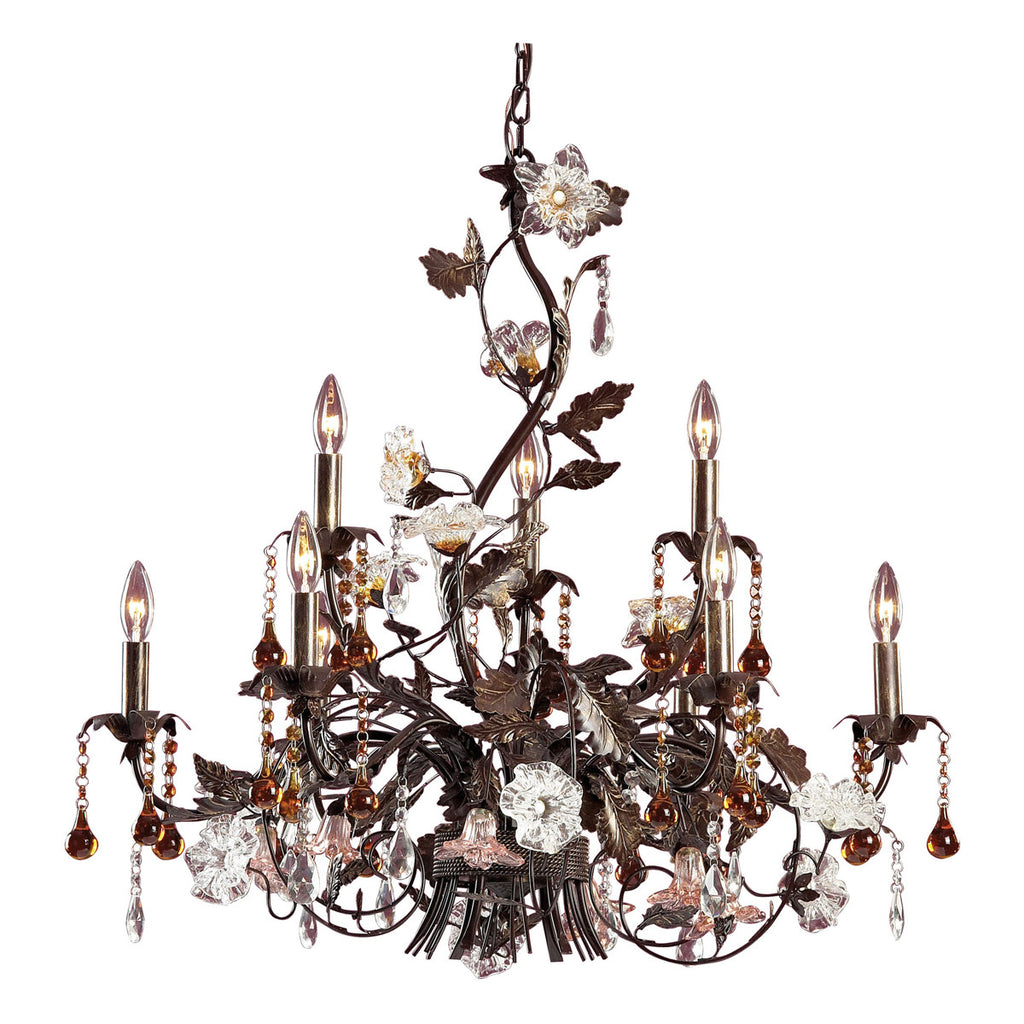 Cristallo Fiore 9-Light Chandelier in Deep Rust and Hand Blown Florets