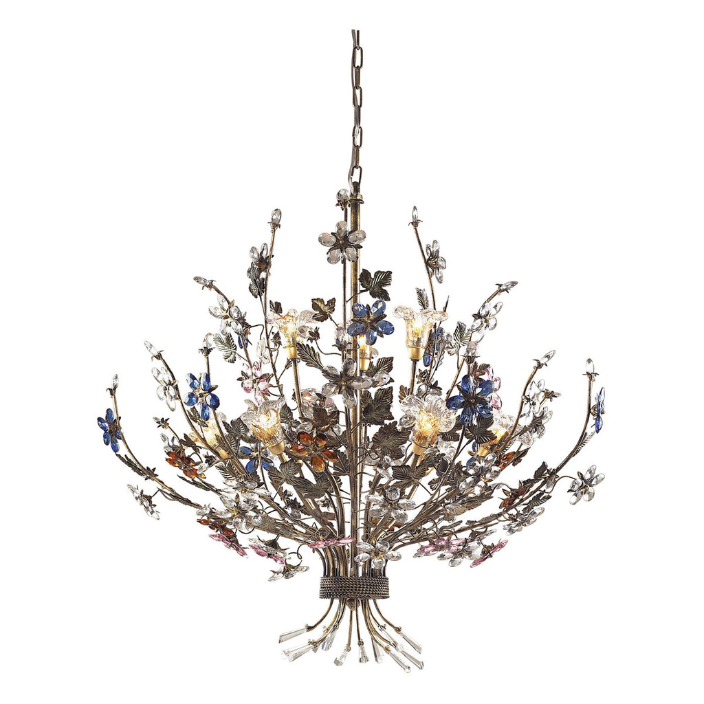 Brillare 9-Light Chandelier in Bronzed Rust and Multi Colored Crystal Florets