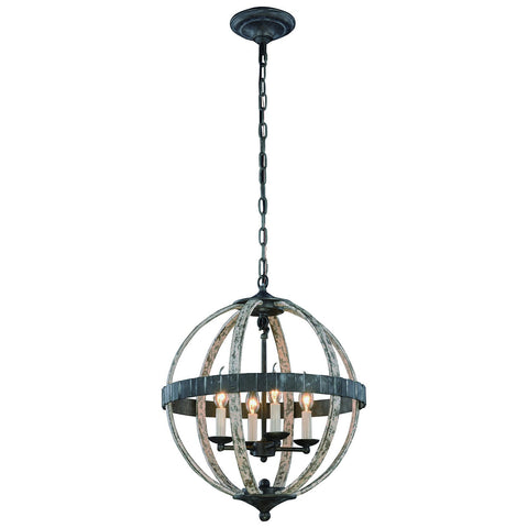 Orbus 4 Light Ivory Wash and Steel Grey Pendant