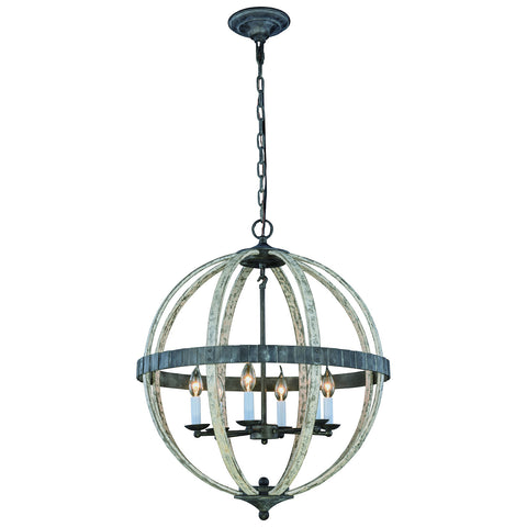 Orbus 6 Light Ivory Wash and Steel Grey Pendant