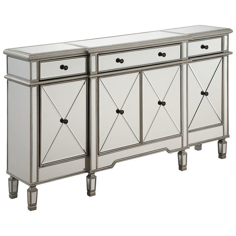 3-Drawer 4-Door Silver Clear Cabinet