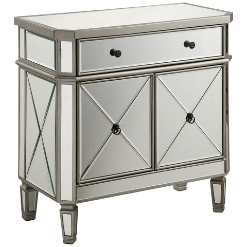 1-Drawer 2-Door Silver Clear Cabinet