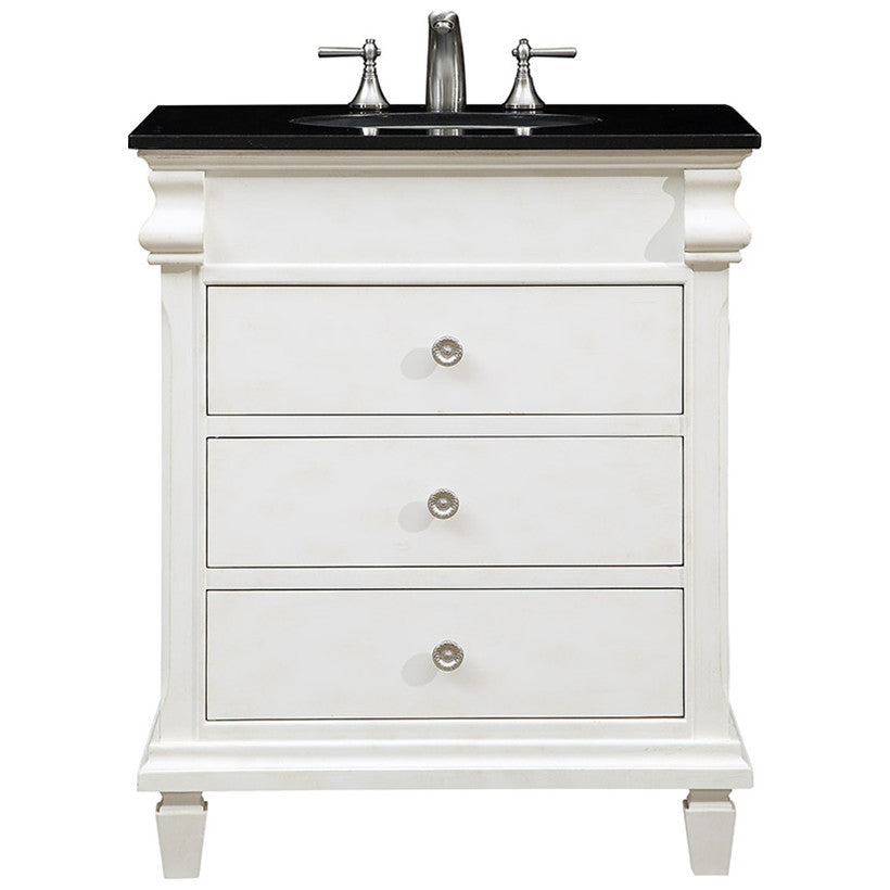 "Hampton 30"" Single Bathroom Vanity Set in Antique White"