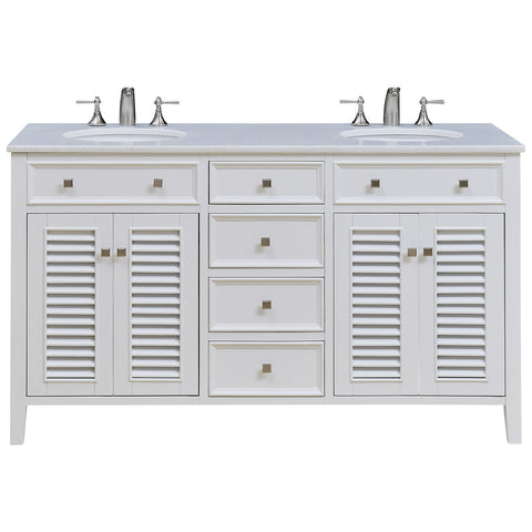 "Cape Cod 60"" Double Bathroom Vanity Set in White"